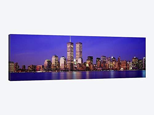 Edifícios à beira-mar iluminados ao anoitecer, World Trade Center, Wall Street, Manhattan, Cidade de Nova York, Estado de Nova York, Arte de parede com moldura dos EUA, Decoração de casa para sala de estar, quarto