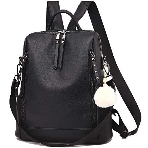 Backpack Purse for Women Multi-pocket Large Capacity Leather Shoulder Bag Multi-purpose Cute Backpack for Girls (Black)