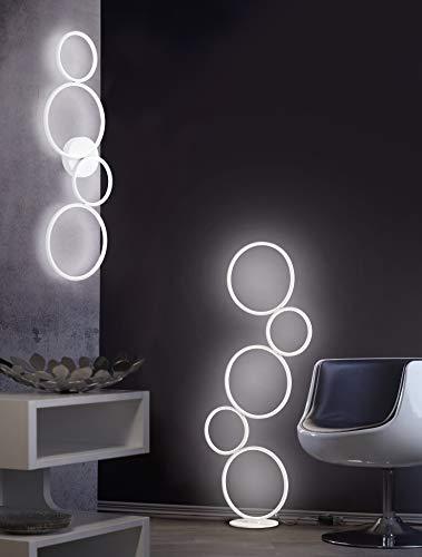 TRIO LIGHTING ITALIA RONDO LAMPADA DA PAVIMENTO LED 36W DIMMERABILE LUCE CALDA 3000K IN METALLO COLORE BIANCO OPACO CON INTERRUTTORE 422610531