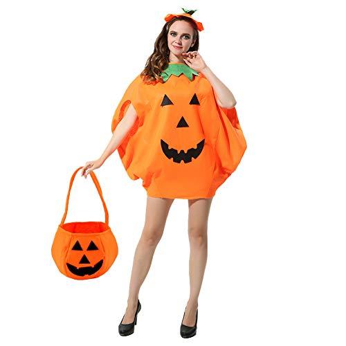Cozyhoma Halloween Fancy Jurk Pompoen Kostuum Unisex Outfit Pompoen Patroon Kleding voor Vrouwen Mannen Masquerade Party Props Cosplay Jumpsuits Outfits Tabard met Hoed