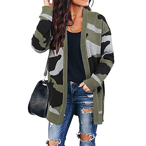 Strickjacke Damen Cardigan Camouflage Loose Cardigan Sweaters Übergroße Weibliche Streetwear Mantel Strickjacke Kleidung Damen Pullover L ArmyGreen