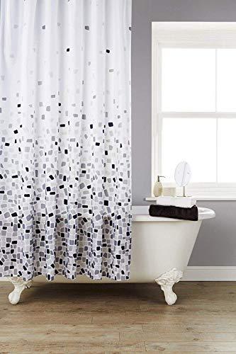 KAV Hihj kwaliteit polyester stof douchevorm en meeldauw bestendig gordijn 180 x 180 cm (71 x 71 Inch) tegels patroon (Choose kleur van Drop Down menu) (grijs mozaïek, 1), maatregelen