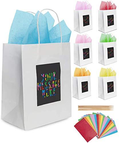 7 Weiße Geschenktüten aus Papier mit Seidenpapier Purple Ladybug - Papiertragetaschen 19x24x12 cm Individuell zu Gestalten! Robuste Geschenkverpackung, Papiertaschen für Geburtstage u. v. m.