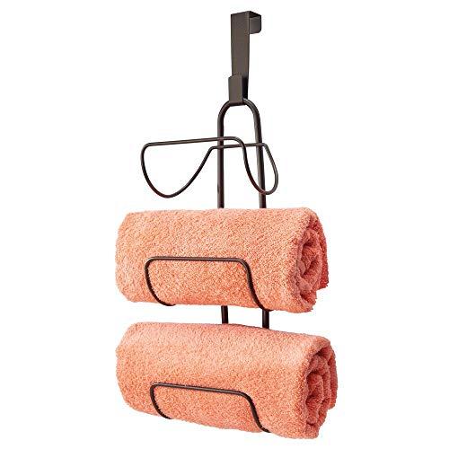 mDesign Modern Decorative Metal Wire Over Shower Door Towel Rack Holder Organizer - for Storage of Bathroom Towels, Washcloths, Hand Towels - 3 Tiers - Bronze