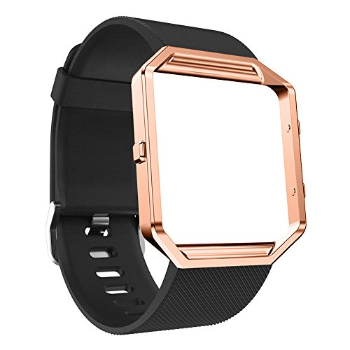 TeaBoy Bands Compatible with Fitbit Blaze for Women Men, Soft Sport Silicone Replacement Blaze Strap Bracelet Accessories Watch Blaze Band with Rose Gold Protect Case for Girl Ladies
