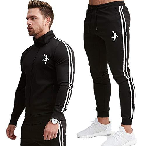 Z/A James Stepsuit Sets, Soft Soft Sweatshirt Y Pantalones Jogging, Suéter Rayado, Adecuado para Deportes De Fitness Y Ropa Informal, Regalos De Fans,Negro,M