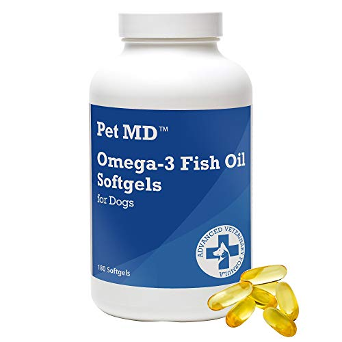 Pet MD – Omega 3 Fish Oil Supplement for Dogs – Skin  Coat  Joint  and Heart Health – 180 Softgels