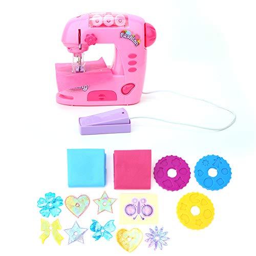 Yuehao Conjunto de máquina de Coser eléctrica, Mini Juguetes para máquinas de Coser Máquina de reparación de Bricolaje Pequeña máquina de Coser casera con Mini cajón Kid Pretend Play Toy
