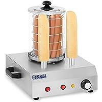 Royal Catering Máquina de Perritos Calientes Hot-Dog Machine con 2 Pinchos RCHW-350-2 (422 W, Temperatura hasta 97 °C, Vidrio templado, Acero inoxidable, Aluminio, 500 ml)