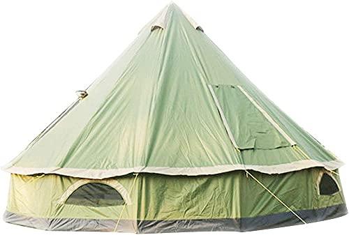 Luxury 4m Bell Tent Tent Yurt 210D Oxford India Tienda Impermeable Campana Portátil Portátil Tienda de Privacidad para Camping Familia Caza Al Aire Libre-Verde