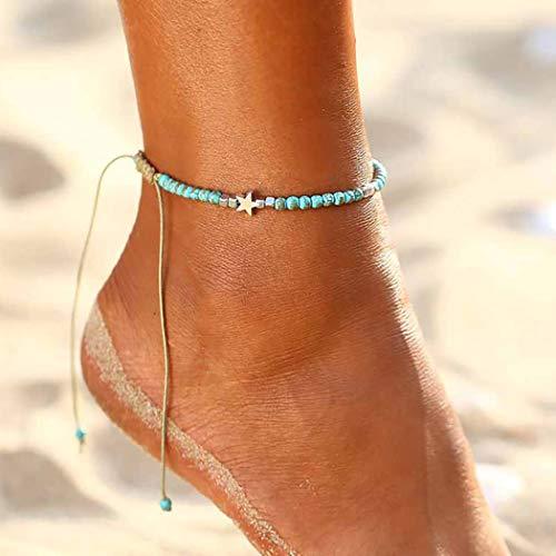 Zoestar Pulsera de tobillo con diseño de estrella bohemio, turquesa, para mujeres y niñas