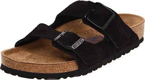 Birkenstock Arizona Soft Footbed - Suede (Unisex) Black Suede 38 (US Men