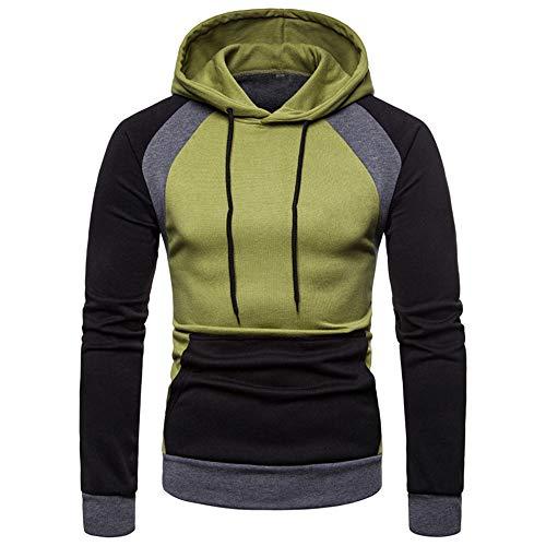Men's Hoodie Long Sleeve Tops Sportswear Basic Hooded Sweater Sweat Jacket Warm Men's Tops Pullover Patchwork with Drawstring Pocket Sweatshirt Slim fit Soft Comfortable Tops M Green