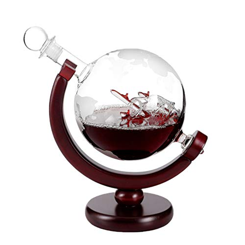 UPKOCH Mini mundo grabado globo decantador Whiskey decantador con soporte para Vodka Liquor 850 ml