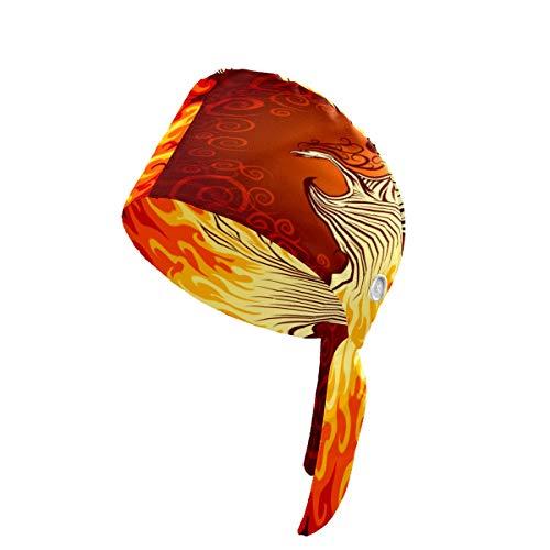 LIUBT - Gorro de trabajo con botones, color rojo Fuego, pájaro Fénix, ajustable, con banda para el sudor, para mujer, hombre, niño y niña