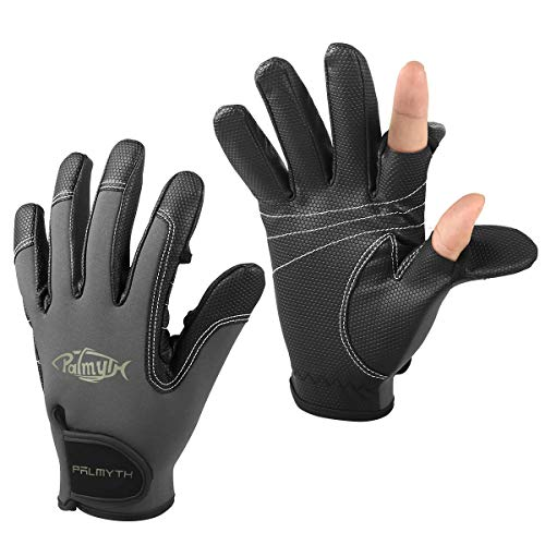Palmyth Neoprene Fishing Gloves for Men and Women 2 Cut Fingers Flexible Great for Photography Fly Fishing Ice Fishing Running Touchscreen Texting Hiking Jogging Cycling Walking (Dark Grey, Small)