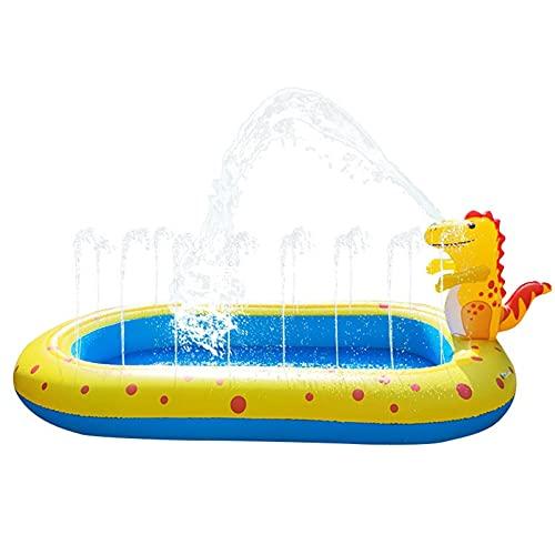 Taloit Piscina inflable de dinosaurio, piscina inflable para niños con rociador, piscina infantil de tamaño completo, piscina inflable de verano, fiesta de agua de verano