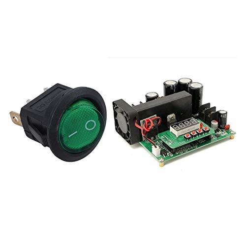 zhuzhu 1 PCS 12V 16A Interruptor de rockero Bipolar LED ON/Off SPST Green & 1 PCS DC-DC BST900W CNC Boost convertidor (Color : Green)