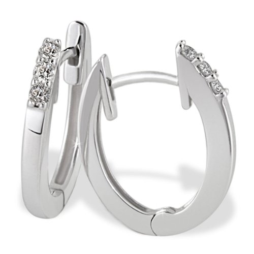 Goldmaid Damen-Creolen Memoire 585 Weißgold 6 Diamanten 0.10 ct. Ohrringe Brillanten Schmuck