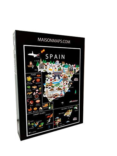 Puzzle de Spain, 1000 piezas, 68 x 48 cm, diseño de mapamundi