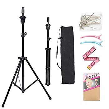 Lihui Wig Stand Tripod Adjustable Wig Head Stand Metal Mannequin Head Stand With Non Slip Base Cosmetology Hairdressing Training Head Holder For Canvas Block Wigs Heads Hair Extensions