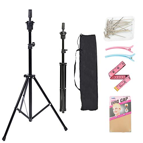 Lihui Wig Stand Adjustable Mannequin Head Tripod Stand, Mannequin Tripod Hairdressing Training Head Holder For Styling Wigs Hair Extensions, Metal Wig Stand Tripod Compatible For Canvas Block Wig Head