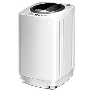 COSTWAY Mini Machine à Laver Lave Linge 240 W avec Un Bucket Automatique,43 x 43 x 75 cm,Charge Supérieure 3,5 kg Blanc
