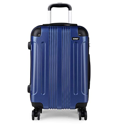 Kono Carry on Suitcase 56x37x23cm Lightweight ABS Travel Trolley Case 39L with 4 Spinner Wheels (Navy)