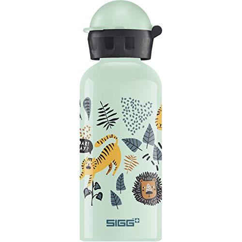 SIGG Jungle TZZ Kinder Trinkflasche (0.4 L), schadstofffreie Kinderflasche mit auslaufsicherem Deckel, federleichte Trinkflasche aus Aluminium