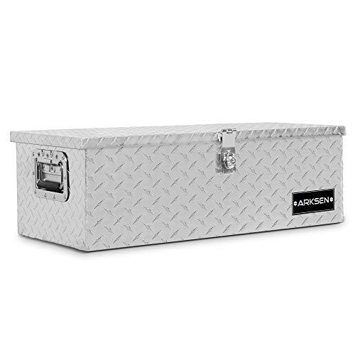 ARKSEN 30' Heavy Duty Aluminum Diamond Plate Tool Box Pick Up Truck Bed RV Trailer Toolbox Storage Lock Keys, Silver