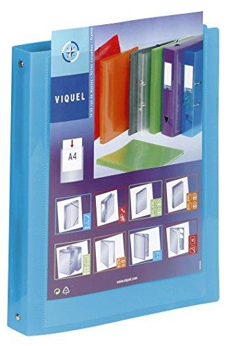 Viquel–Carpeta flexible de plástico 4anillos–Carpeta personalizable ancho 3,5cm–Etiquetas de identificación–formato A4–calidad superior–Fabricado en Francia–azul translúcido