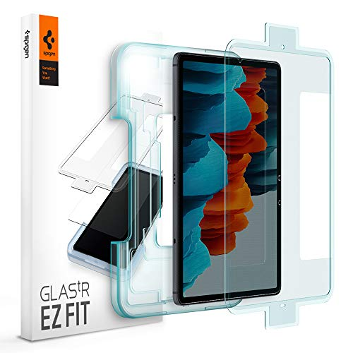 Spigen, Panzerglas Schutzfolie kompatibel mit Samsung Galaxy Tab S7, Schablone für Installation enthalten, Hüllenfre&lich, Kristallklar, 9H gehärtes Glas, 0.3 mm, Galaxy Tab S7 Schutzfolie