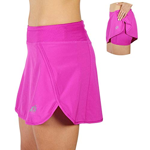 X31 Sports Running Skirt Tennis Skort with Shorts and Pockets (Pink, Large)