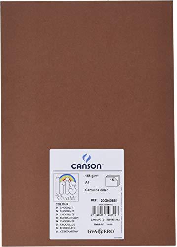CANSON 16389 Papier Caniris Vivaldi Mar34 A4 210x297mm 185g Spécial Art Travaux Manuels Chocolat Pochette Lot de 15 Crème