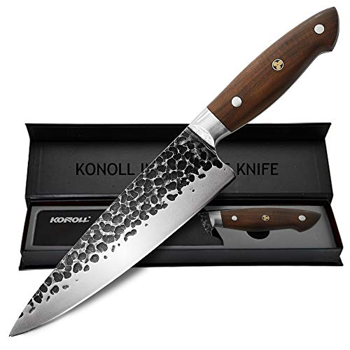 KONOLL Chef Knife Forged Handmade 8 Inch Professional Kitchen Knife Meat Cleaver German HC Steel with Solid Wood Handle