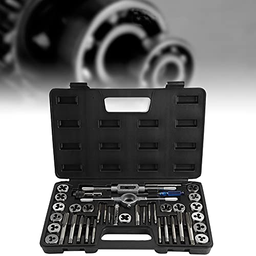 M3 - M12 Tap and Die Set, 40Pcs M3, M4, M5, M6, M7, M8, M10, M12 Screw Nut Tap and Die Set with Wrenches and Thread Gauge Heavy Duty Hand Tools