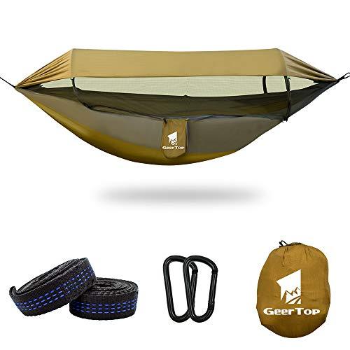 GEERTOP 3 en 1 Hamaca Exterior mit Mosquitero Refugio Solar, Nylon Impermeable Equipo de Acampada para Mochileros, Viajes, Parque de Jardín