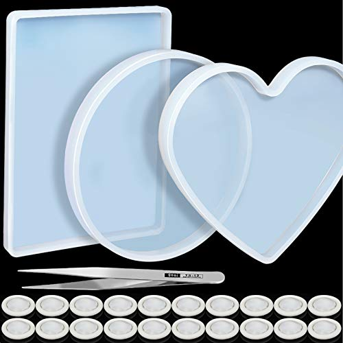 3 Pcs Large Resin Mold, LEOBRO Flexible Silicone Molds, Include Round, Rectangle, Heart Shaped Coaster Mold, Decorative Mold, Come With 20 Pcs Finger Cots, 1Pcs Tweezers