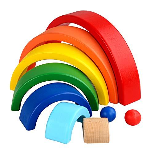 Fesjoy Juguete de Madera apilador arcoíris,Apilador de arcoíris de Madera, 9 Piezas, Bloques de Rompecabezas de anidación, Juego de apilamiento de arcoíris de Madera, Juguetes educativos