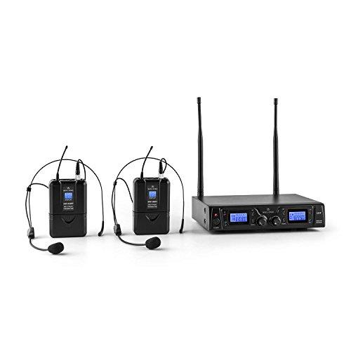 Malone Duett Pro V2-2-Kanal UHF-Funkmikrofon Set, Funk-Mikrofon System, 2 x kabelloses Headset Mikrofon, 50 m Reichweite, integrierter Pop-Schutz, lange Betriebszeiten, schwarz
