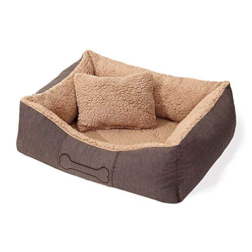 SUN GARDEN Pet Collection Lucky-Premium Hundekorb Heimtierkorb mit Kissen - Bezug abziehbar/Waschbar Gr. L ca.100-90x20cm (Innenmaß ca.70x55x11cm) Farbe: Braun mit hellerem Plüsch