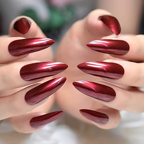 ZHEN Faux faux ongles artificiels extra longs ongles en miroir tranchants pour le patch de doigt femmes vêtements quotidiens