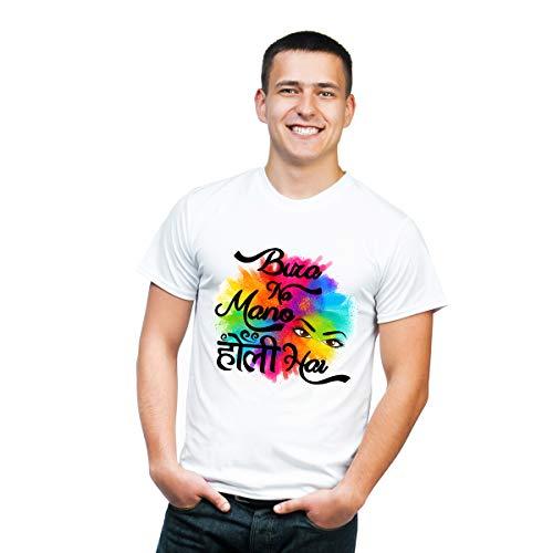 SmartX Bura Na Mano Holi Hai T-Shirts for Men | Bura Na Mano Holi Hai T-Shirts for Boys | Holi Dryfit Strechable T-Shirts | Color - White with Multicolor Designs