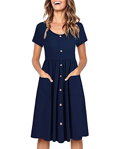OUGES Women's Short Sleeve V Neck Button Down Midi Skater Dress with Pockets(Navy395,L)