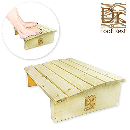Dr. Foot Rest Wood Ergonomic Wood Foot Stool Under Desk Foot Rest with 17.7' Width for Office Home to Relieve Tendon Pains and Improve Blood Circulation