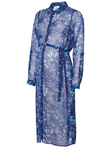 Mamalicious Robe tunique de maternité à manches longues en mousseline de soie Motif floral - Bleu - 40