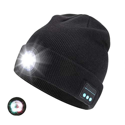 Achort LED Iluminado Bluetooth Beanie Cap USB Recargable inalámbrico Running Hat LED...