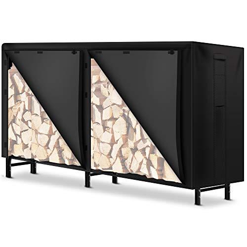 Amagabeli 8英尺木柴原木机架盖耐寒户外重型防水600D牛津织物壁炉原木支架覆盖防火木材存储盖与PVC背衬黑色