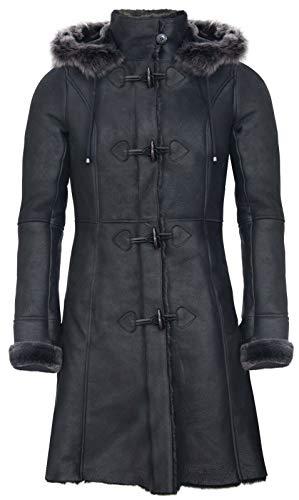 Infinity Leather Damen Merino Schwarz Shearling Schaffell Kapuze Dufflecoat 3XL