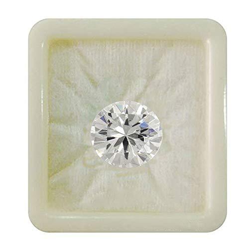 Jewelryonclick Leb Certified White Cubic Zircon 3 Carat Loose Gemstone Round Shape Rashi Ratan